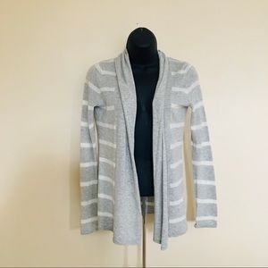 express / open front striped gray white cardigan